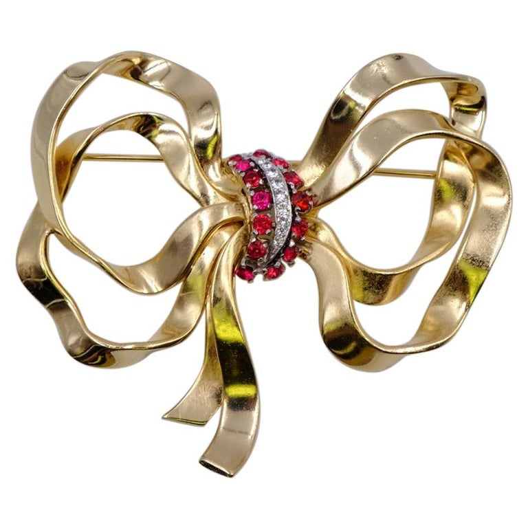 Vintage Jomaz Massive Bow Brooch With Rhinestones 1950's For Sale