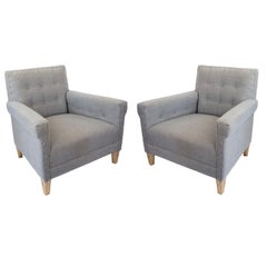 Vintage Jonathan Adler Tufted Lounge Chairs, a Pair