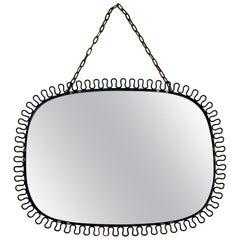 Vintage Josef Frank Black Hooped Landscape Mirror for Swenskt Tenn of Sweden