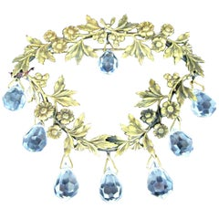 Vintage Joseff of Hollywood Chandelier Crystal Floral Wreath Retro Brooch Pin