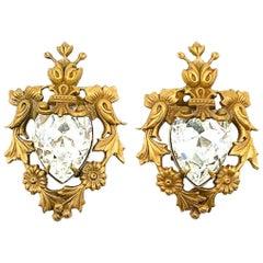 Vintage Joseff of Hollywood Gold & Teardrop Crystal Earrings 1940s