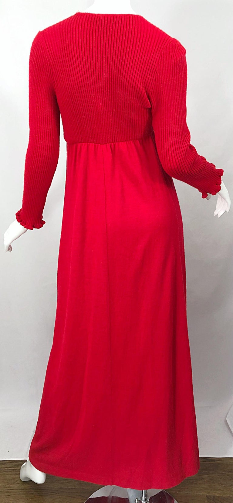 Vintage Joseph Magnin 1970s Lipstick Red Long Sleeve Wool 70s Sweater Maxi Dress For Sale 6