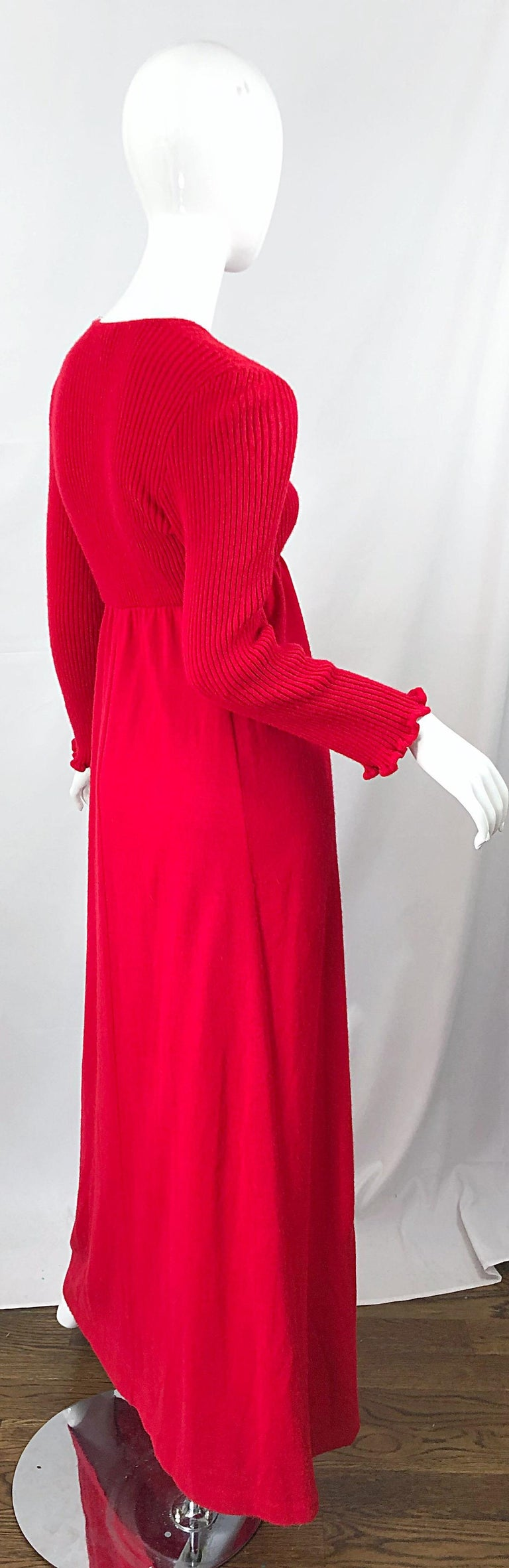Vintage Joseph Magnin 1970s Lipstick Red Long Sleeve Wool 70s Sweater Maxi Dress For Sale 8