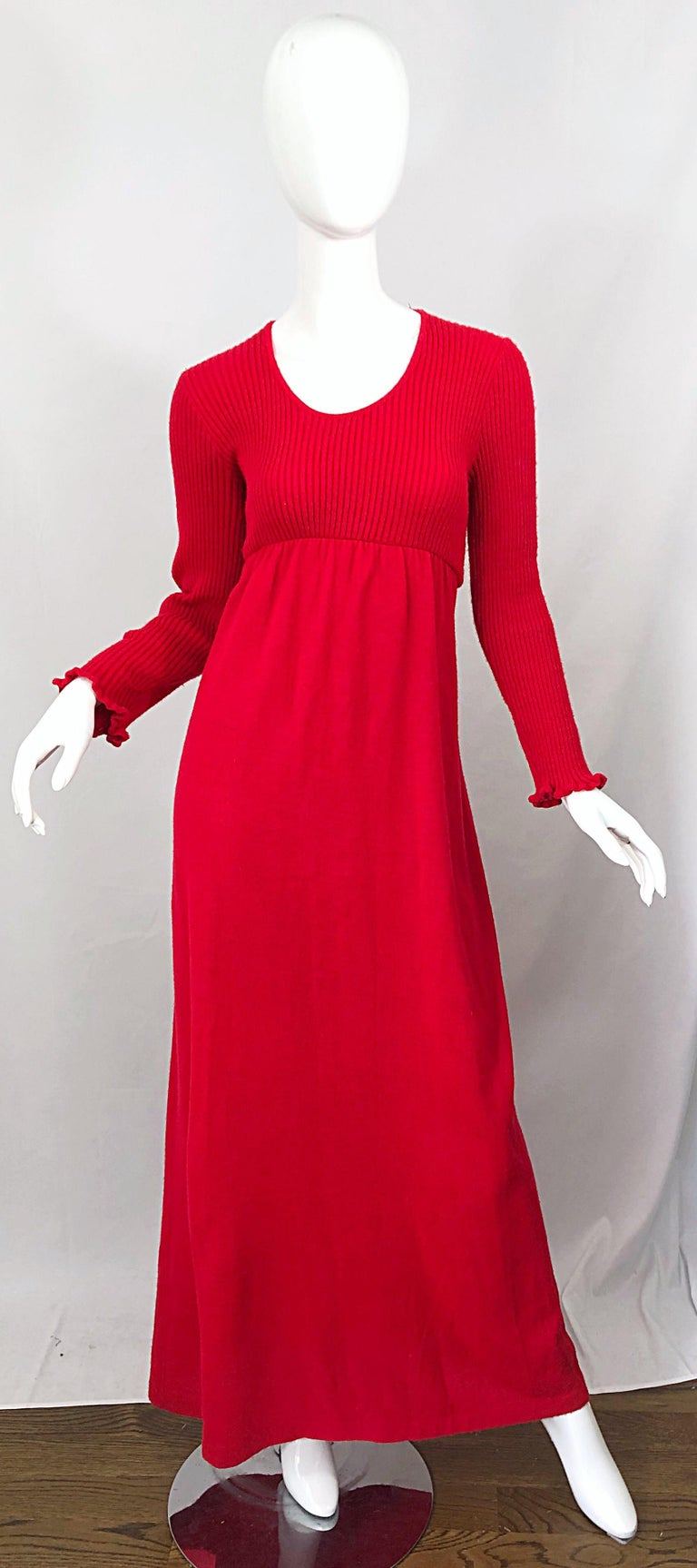 Vintage Joseph Magnin 1970s Lipstick Red Long Sleeve Wool 70s Sweater Maxi Dress For Sale 9