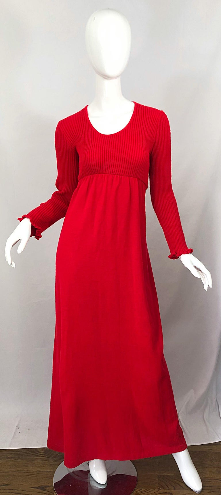 Chic vintage JOSEPH MAGNIN lipstick red long sleeve wool sweater dress! Features a soft wool knit that has plenty of stretch. Vibrant lipstick red color is the perfect alternative to black. Flattering tailored scoop neck bodice with an empire like