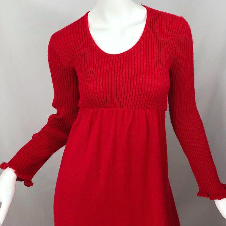 Women's Vintage Joseph Magnin 1970s Lipstick Red Long Sleeve Wool 70s Sweater Maxi Dress For Sale