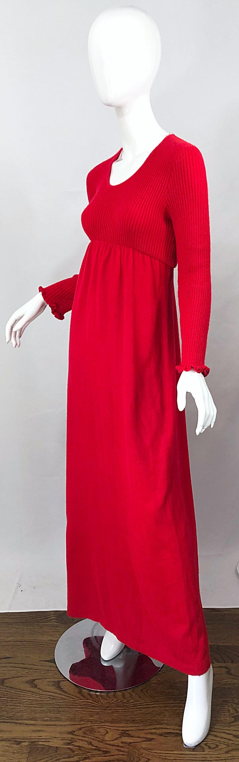 Vintage Joseph Magnin 1970s Lipstick Red Long Sleeve Wool 70s Sweater Maxi Dress For Sale 1