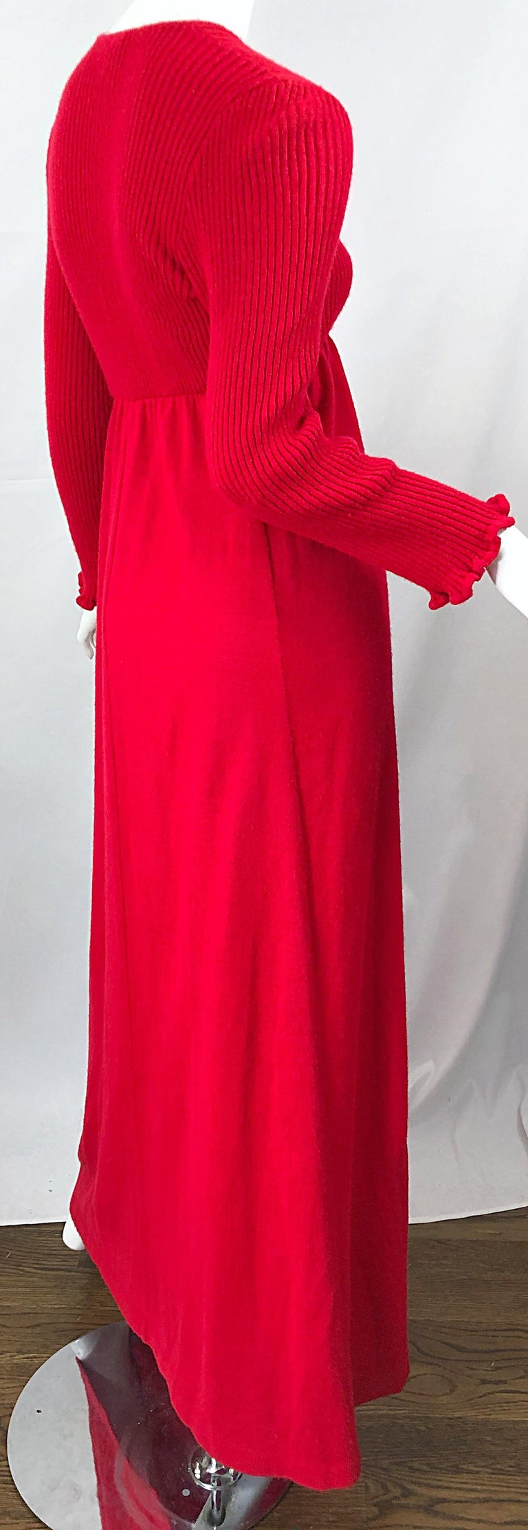 Vintage Joseph Magnin 1970s Lipstick Red Long Sleeve Wool 70s Sweater Maxi Dress For Sale 2