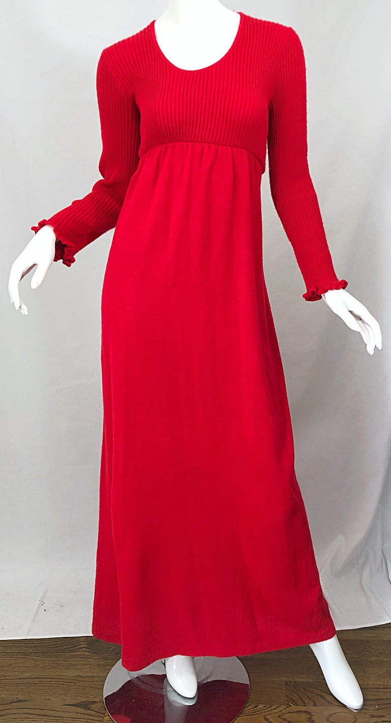 Vintage Joseph Magnin 1970s Lipstick Red Long Sleeve Wool 70s Sweater Maxi Dress For Sale 4