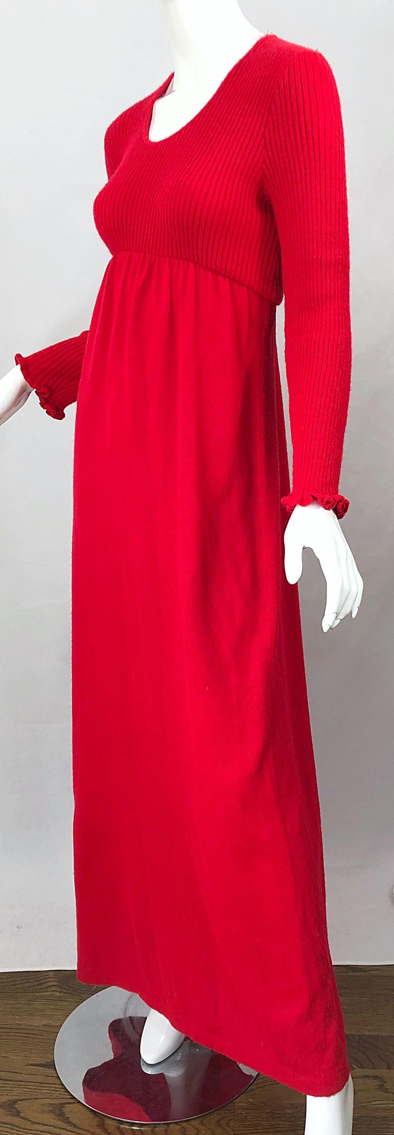 Vintage Joseph Magnin 1970s Lipstick Red Long Sleeve Wool 70s Sweater Maxi Dress For Sale 5