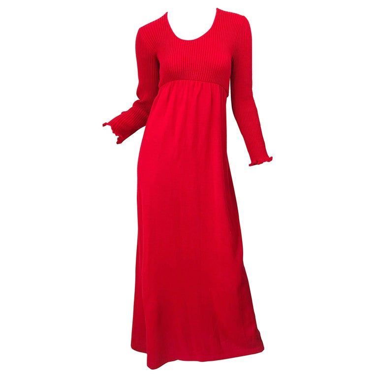 Vintage Joseph Magnin 1970s Lipstick Red Long Sleeve Wool 70s Sweater Maxi Dress For Sale