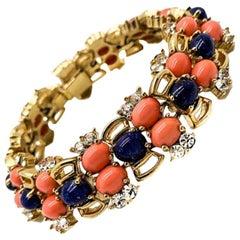 Vintage Joseph Mazer Faux Lapis & Coral Cocktail Bracelet 1960s