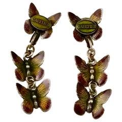 Vintage JPG Jean Paul Gaultier Tiered Enamel Butterfly Earrings