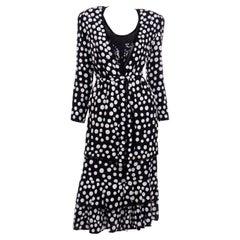 Vintage Judith Ann Creations Silk Beaded 3Pc Polka Dot Dress W Sequins New w Tag