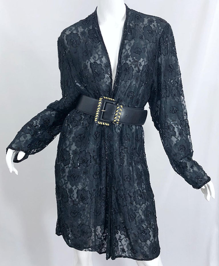 Vintage Judith Ann Size Large Black Lace Beaded Open Front Sheer Duster Jacket For Sale 6