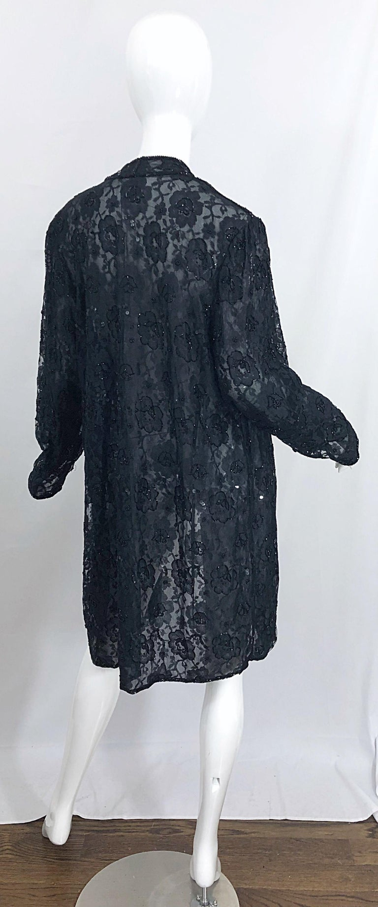 Vintage Judith Ann Size Large Black Lace Beaded Open Front Sheer Duster Jacket For Sale 7