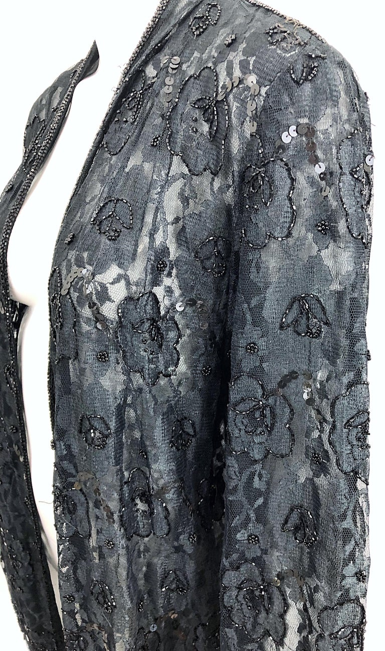 Vintage Judith Ann Size Large Black Lace Beaded Open Front Sheer Duster Jacket For Sale 8