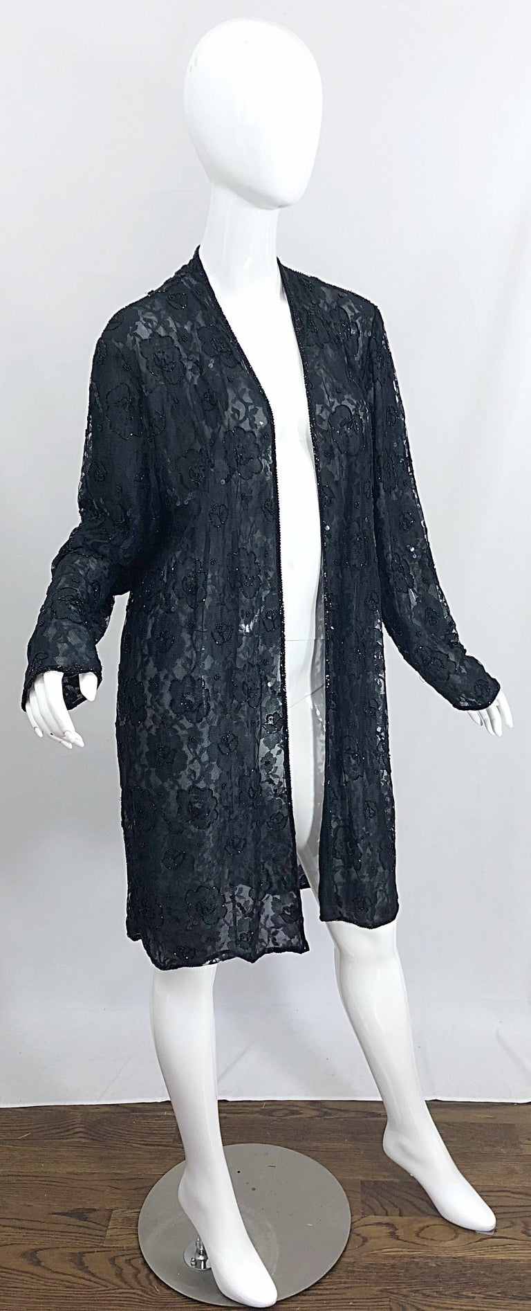 Vintage Judith Ann Size Large Black Lace Beaded Open Front Sheer Duster Jacket For Sale 9