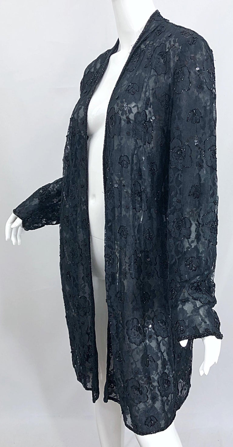 Vintage Judith Ann Size Large Black Lace Beaded Open Front Sheer Duster Jacket For Sale 10