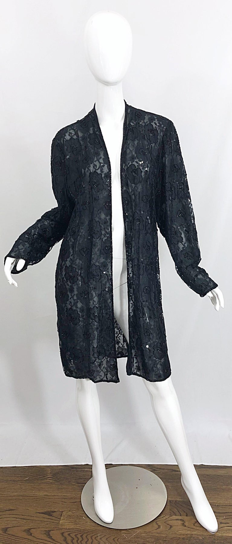 Vintage Judith Ann Size Large Black Lace Beaded Open Front Sheer Duster Jacket For Sale 11