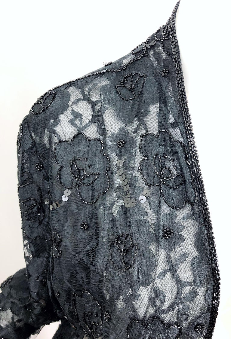 Vintage Judith Ann Size Large Black Lace Beaded Open Front Sheer Duster Jacket In Excellent Condition For Sale In Chicago, IL