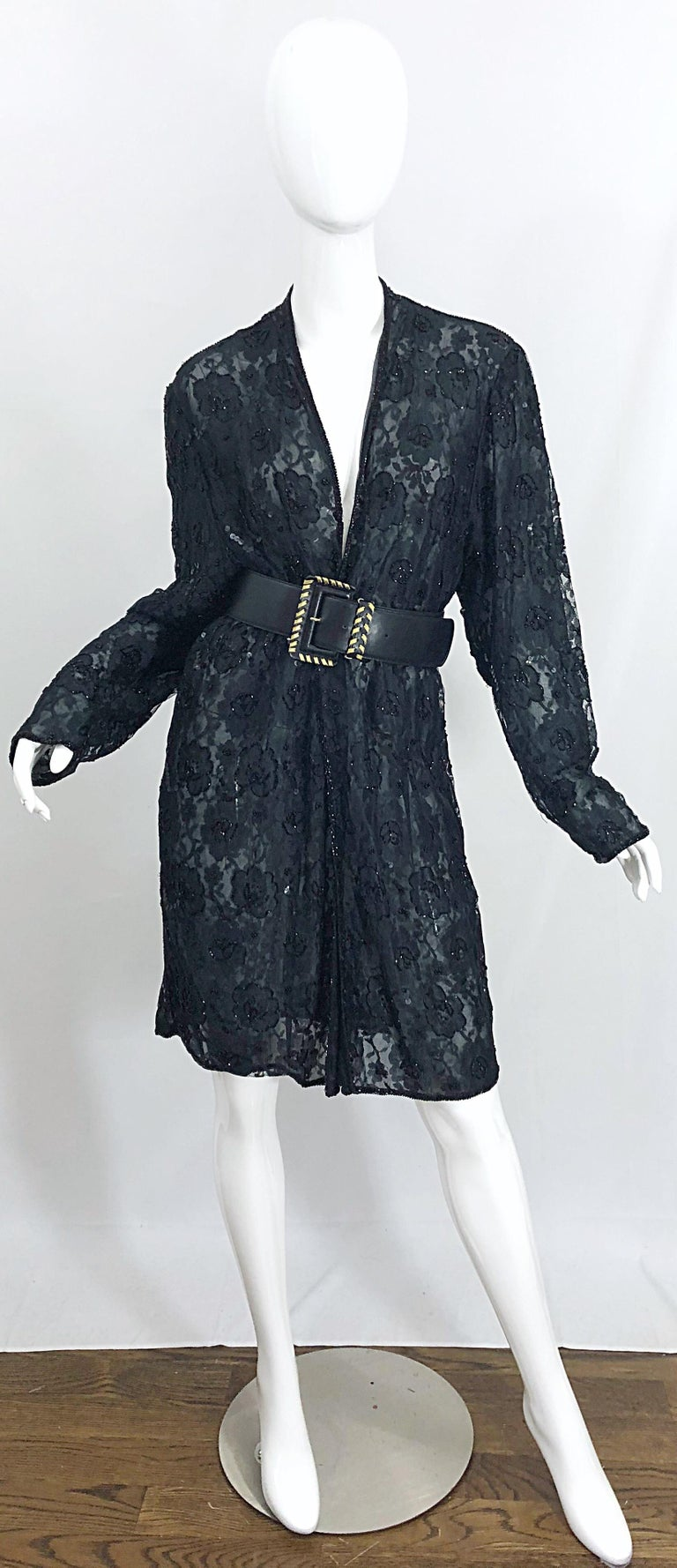 Vintage Judith Ann Size Large Black Lace Beaded Open Front Sheer Duster Jacket For Sale 2