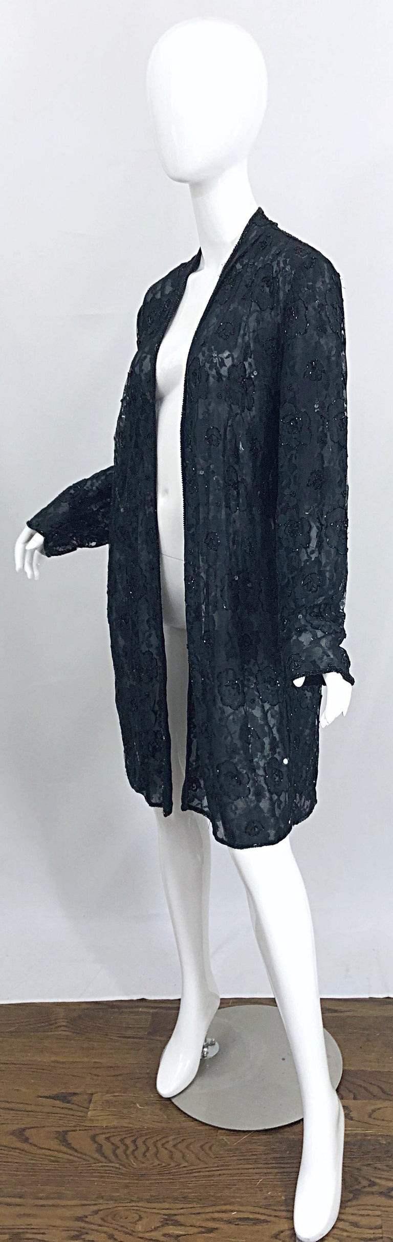 Vintage Judith Ann Size Large Black Lace Beaded Open Front Sheer Duster Jacket For Sale 3