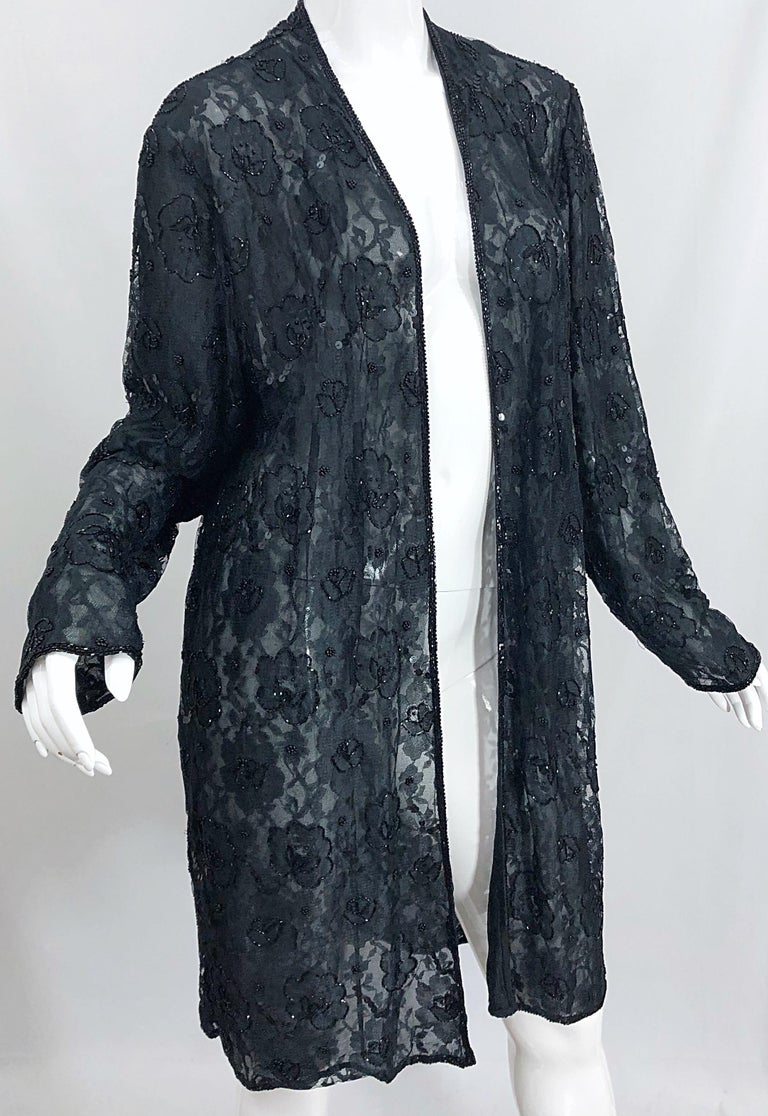 Vintage Judith Ann Size Large Black Lace Beaded Open Front Sheer Duster Jacket For Sale 4