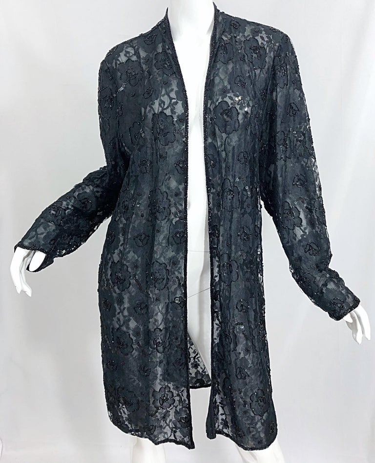 Vintage Judith Ann Size Large Black Lace Beaded Open Front Sheer Duster Jacket For Sale 5