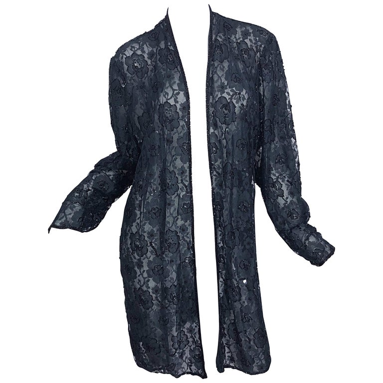 Vintage Judith Ann Size Large Black Lace Beaded Open Front Sheer Duster Jacket For Sale