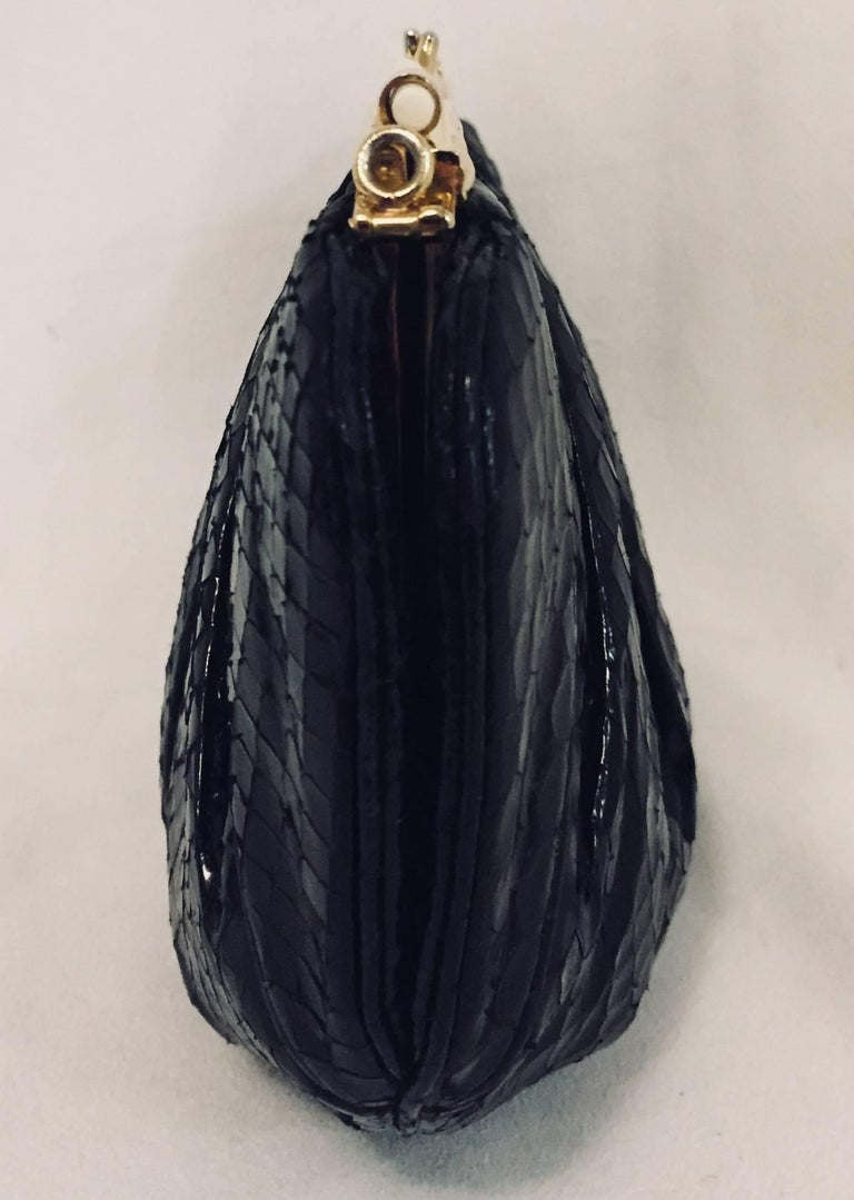 Vintage Judith Leiber Black Gathered Python Convertible Clutch   In Excellent Condition For Sale In Palm Beach, FL