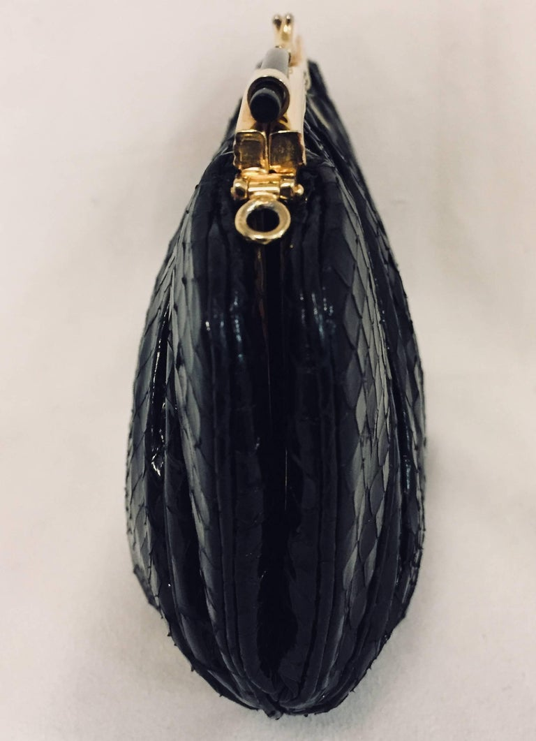 Women's Vintage Judith Leiber Black Gathered Python Convertible Clutch   For Sale