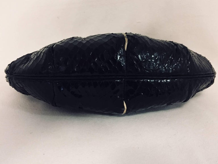 Vintage Judith Leiber Black Gathered Python Convertible Clutch   For Sale 1