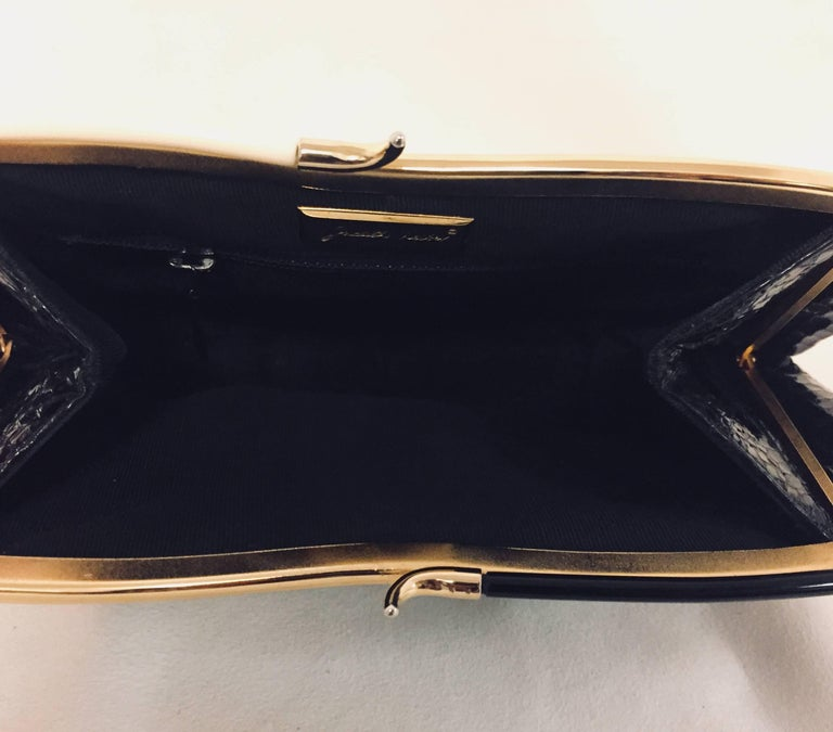 Vintage Judith Leiber Black Gathered Python Convertible Clutch   For Sale 2