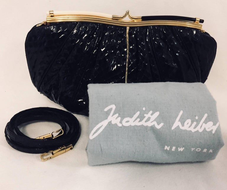 Vintage Judith Leiber Black Gathered Python Convertible Clutch   For Sale 4