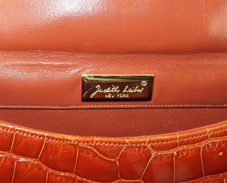 Vintage Judith Leiber Cognac Alligator Handbag With Jewelry Style Handle For Sale 5