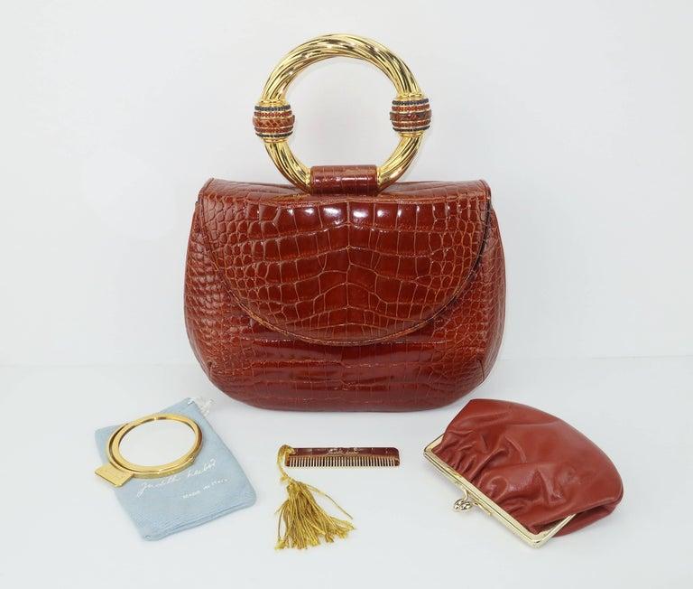 Brown Vintage Judith Leiber Cognac Alligator Handbag With Jewelry Style Handle For Sale