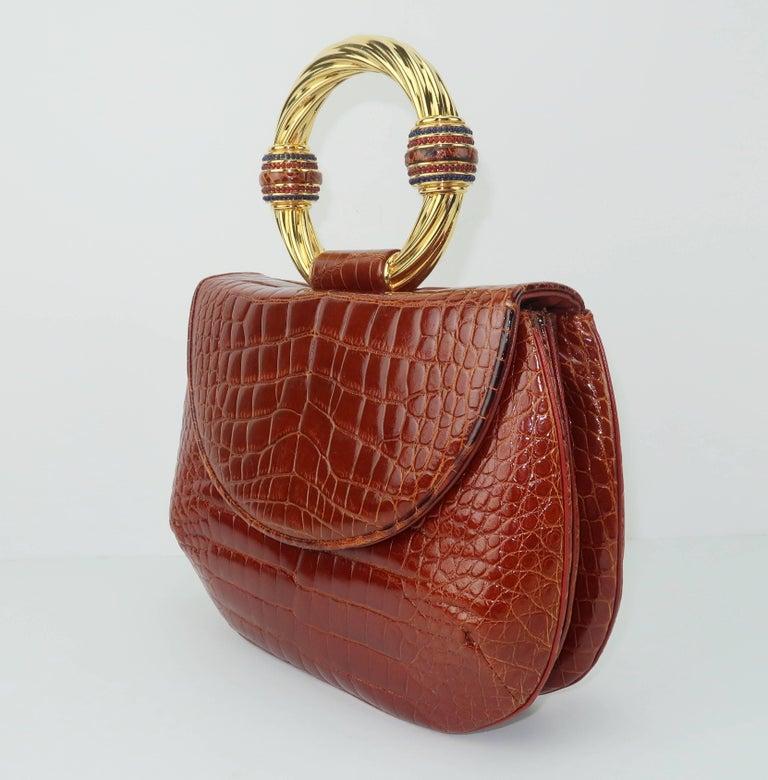 Vintage Judith Leiber Cognac Alligator Handbag With Jewelry Style Handle In Good Condition For Sale In Atlanta, GA
