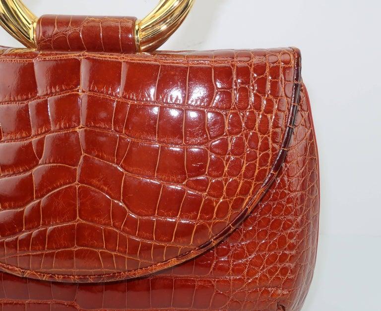 Women's Vintage Judith Leiber Cognac Alligator Handbag With Jewelry Style Handle For Sale