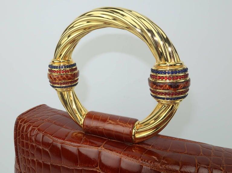 Vintage Judith Leiber Cognac Alligator Handbag With Jewelry Style Handle For Sale 1