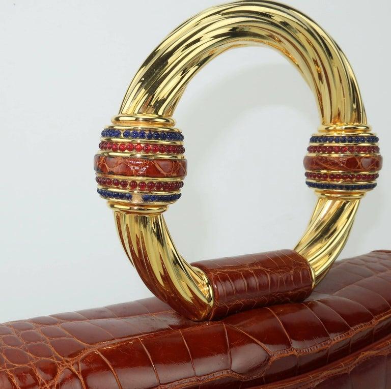 Vintage Judith Leiber Cognac Alligator Handbag With Jewelry Style Handle For Sale 2