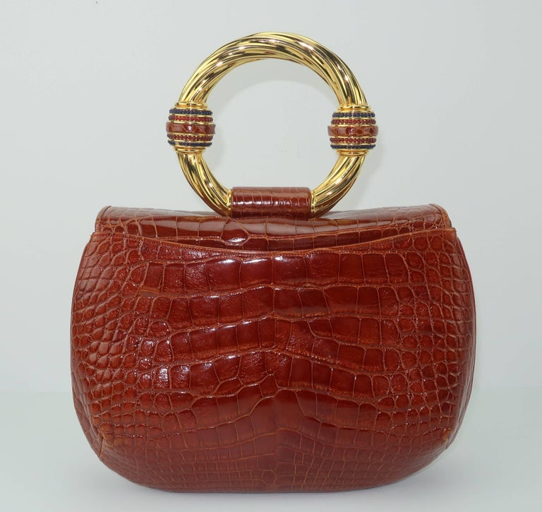 Vintage Judith Leiber Cognac Alligator Handbag With Jewelry Style Handle For Sale 3