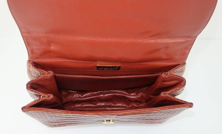 Vintage Judith Leiber Cognac Alligator Handbag With Jewelry Style Handle For Sale 4