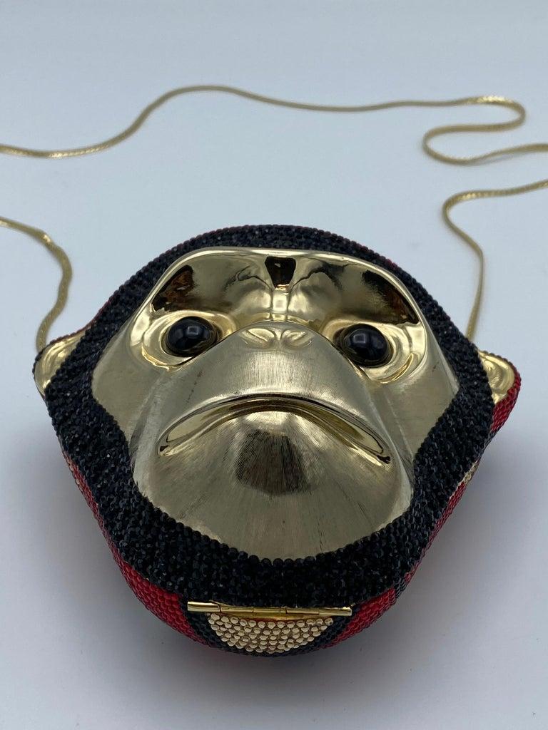 Black Vintage Judith Leiber Monkey Crossbody Clutch Handbag  For Sale