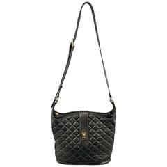 Vintage JUDITH LEIBER Quilted Black Leather Shoulder Handbag