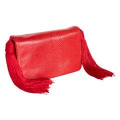 Vintage Judith Leiber Red Karung Tassel Bag
