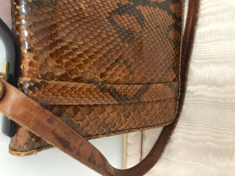 Vintage Judith Leiber Snakeskin Handbag for Saks Fifth Avenue Two Ways In Good Condition For Sale In Port Hope, ON