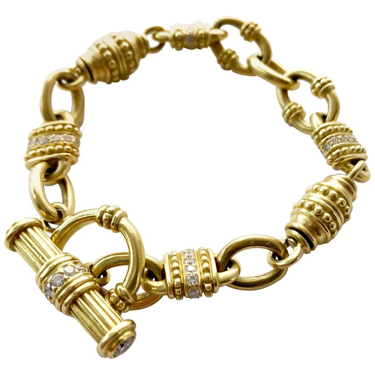 Vintage Judith Ripka 18 Karat Gold Diamond Chain Link Bracelet For Sale