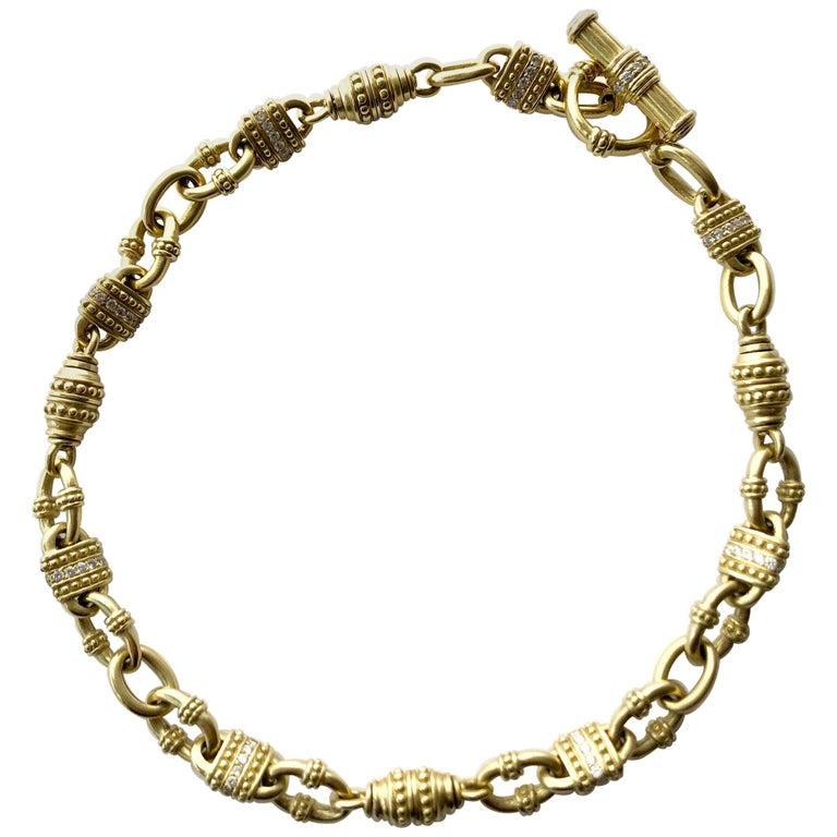 Vintage Judith Ripka 18 Karat Gold Diamond Chain Link Necklace For Sale