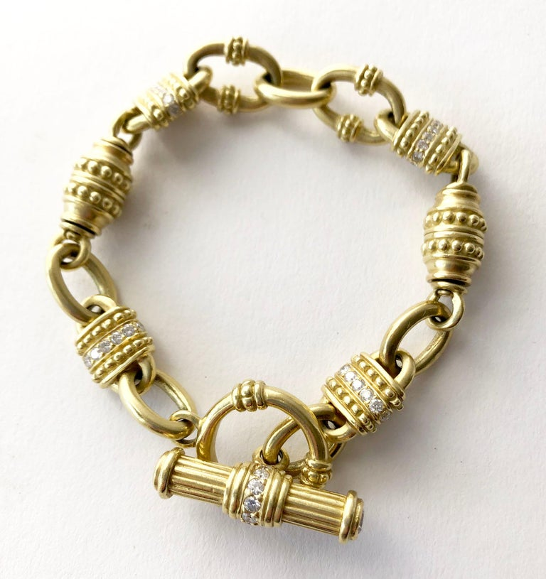 Artisan Vintage Judith Ripka 18 Karat Gold Diamond Chain Link Bracelet For Sale